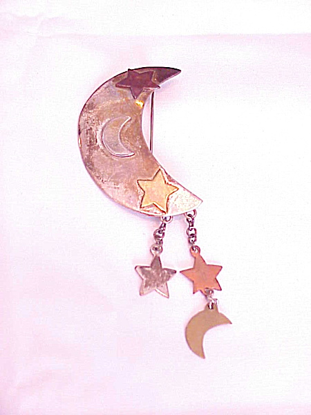 Taxco Mexico Sterling Silver Crescent Moon Brooch With Stars