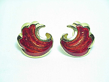 Red Enamel Shell Shaped Pierced Earrings