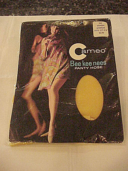 Vintage 1960's Mod Lemon Yellow Panty Hose - Medium Size