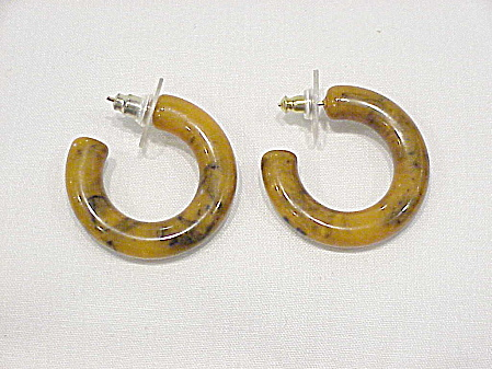 Vintage Marbled Butterscotch Bakelite Pierced Hoop Earrings
