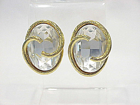 Large Single Clear Rhinestone Gold Tone Clip Earrings