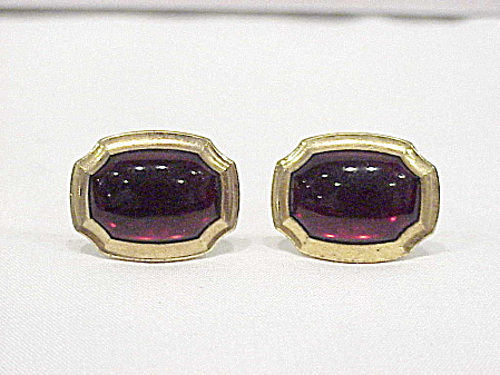 Vintage Correct Quality Dark Red Glass Stone Cufflinks