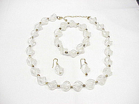 Sterling Silver Vermeil Frosted Glass Bead Necklace Bracelet Earrings