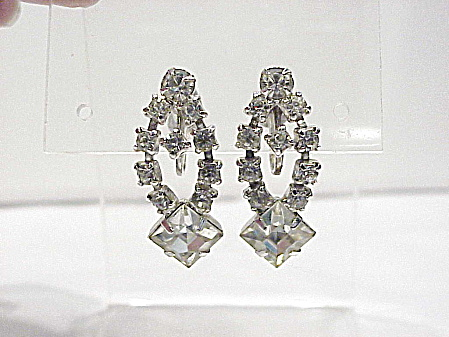 Vintage Dangling Clear Rhinestone Screw Back Earrings