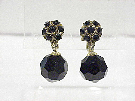 Vintage Black Faceted Glass Bead And Rhinestone Clip Earrings