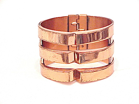Vintage Renoir Wide Modern Design Copper Clamp Bracelet