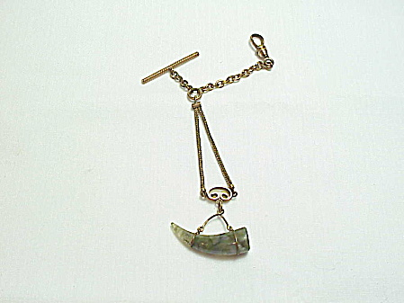 Victorian Edwardian Watch Fob With Moss Agate Horn