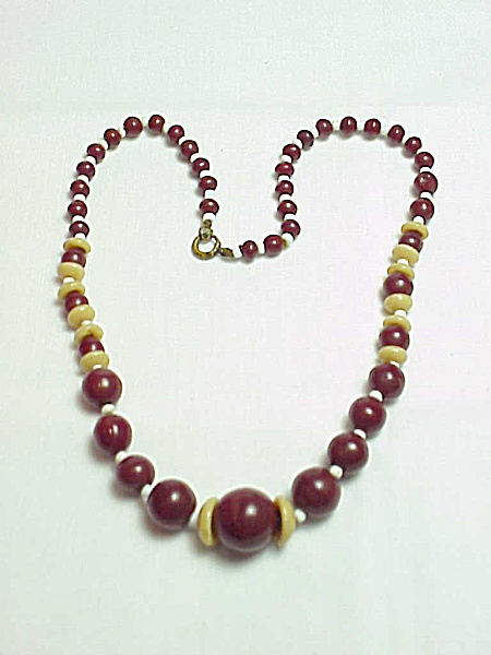 Vintage Dark Red, White And Taupe Glass Bead Necklace