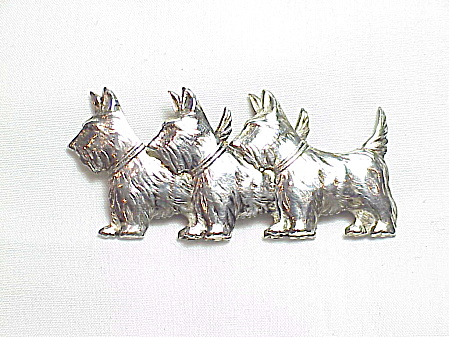Vintage 3 Scottie Dog Scottish Terrier Sterling Silver Brooch