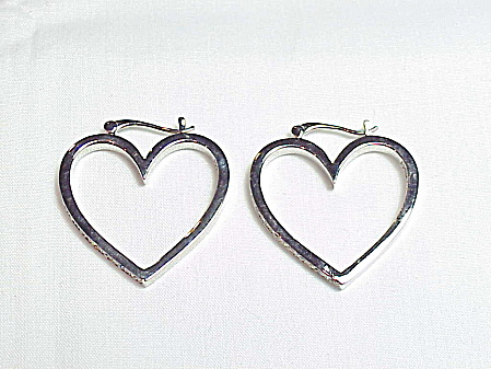 Large Clear Rhinestone Heart Silver Tone Pierced Earrings