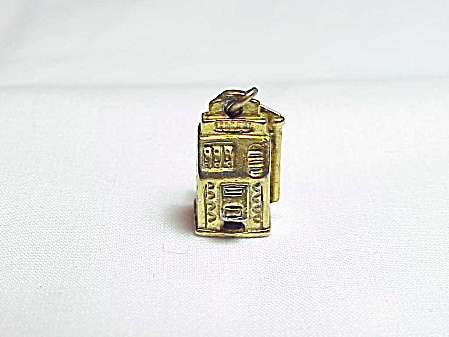 Vintage Bell Sterling Silver Vermeil Slot Machine Charm Or Pendant
