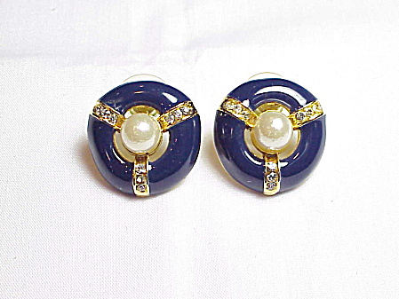 Navy Blue Enamel, Rhinestone And Pearl Pierced Earrings