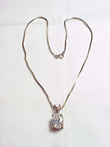 Sterling Silver Necklace With Large Clear Rhinestone Pendant