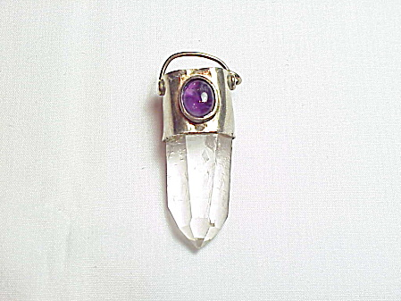 Sterling Silver Quartz Crystal Pendant With Amethyst Cabochon