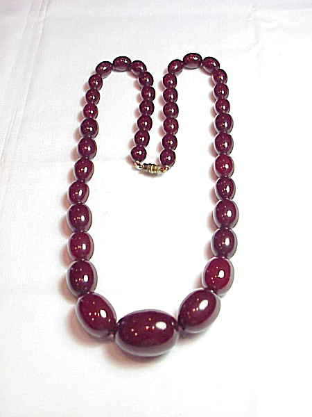 Vintage Cherry Amber Bakelite Faturan Bead Necklace