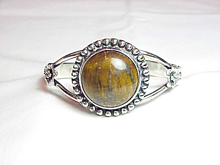 Sterling Silver And Tiger Eye Gemstone Cuff Bracelet With Flowers