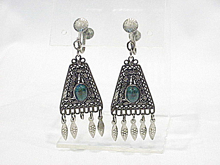 Vintage Middle Eastern Silver Filigree Eilat Stone Screw Back Earrings
