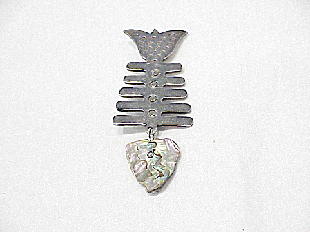 Taxco Mexico Sterling Silver Abalone Fish Skeleton Brooch