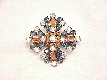 Weiss Blue Smoke, Amber And Aurora Borealis Rhinestone Brooch