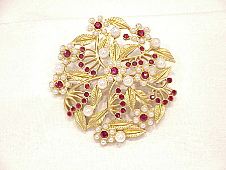 Red Rhinestone And Pearl Matte Gold Brooch Signed N R