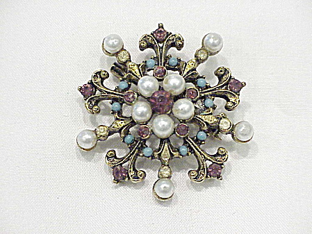 Vintage Turquoise, Pearl And Amethyst Rhinestone Brooch Signed Art