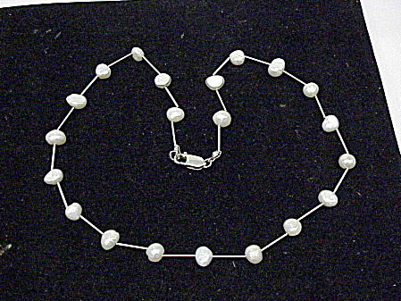 Sterling Silver And Pearl Tin Cup Choker Necklace
