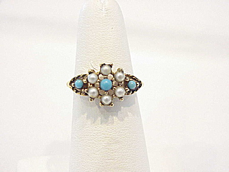 Avon Turquoise Bead And Seed Pearl Ring