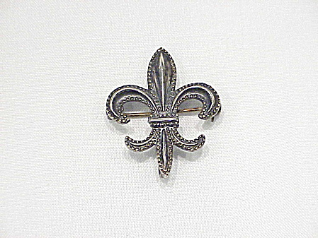 Vintage Victorian Sterling Silver Fleur De Lis Watch Locket Holder Pin