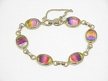 Vintage Sarah Coventry Harmony Rainbow Art Glass Bracelet