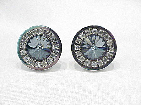 Foster Blue Grey Rivoli And Clear Rhinestone Silver Tone Cufflinks