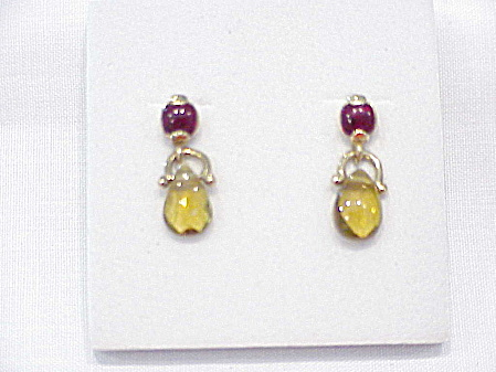 Garnet Red Rhinestone And Citrine Glass Briolette Pierced Earrings