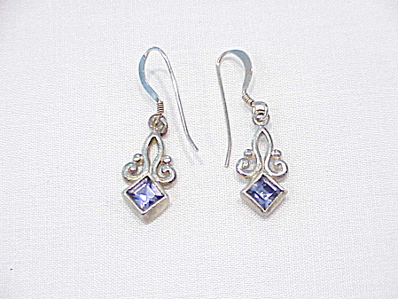 Art Nouveau Style Sterling Silver And Amethyst Pierced Earrings