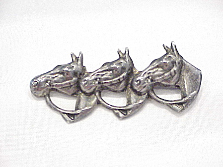 Vintage Sterling Silver 3 Horse Head Brooch