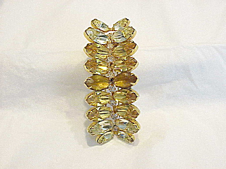 Vintage Kramer Of Ny Citrine And Amber Rhinestone Fur Or Dress Clip