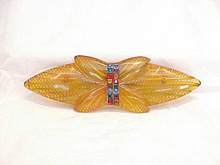 VINTAGE ART DECO APPLE JUICE BAKELITE REVERSE CARVED RHINESTONE BROOCH (Image1)