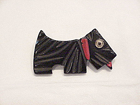 Vintage Art Deco Carved Black Bakelite Scottie Dog Pin Or Brooch