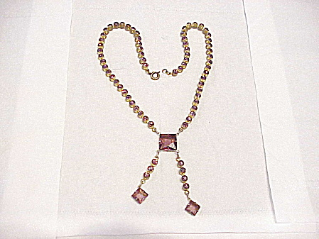 VINTAGE ART DECO AMETHYST RHINESTONE CHOKER NECKLACE WITH DANGLES (Image1)