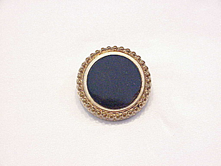ANTIQUE VICTORIAN OR EDWARDIAN BLACK ONYX MOURNING BROOCH (Image1)