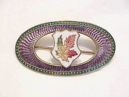 Antique Victorian Large Guilloche Enamel Maple Leaf Brooch Dated 1909