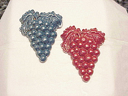 Vintage Pair Of Celluloid C Clasp Grape Bunch Brooches