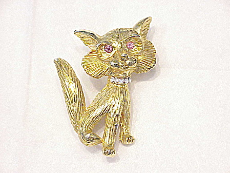 Rhinestone Cat Or Fox Brooch Signed Two Sisters