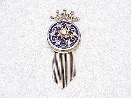 VINTAGE COBALT BLUE ENAMEL AND RHINESTONE BROOCH WITH FRINGE (Image1)