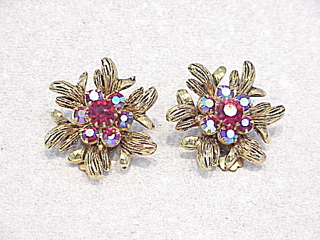 Vintage Red Aurora Borealis Rhinestone Clip Earrings