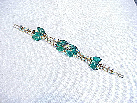 VINTAGE DARK EMERALD GREEN BLUE AURORA BOREALIS RHINESTONE BRACELET (Image1)