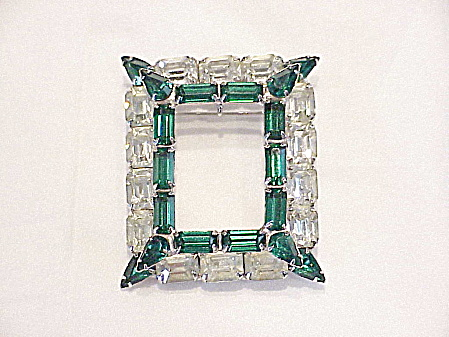 VINTAGE EMERALD GREEN AND CLEAR RHINESTONE COMBINATION BROOCH OR PENDANT (Image1)