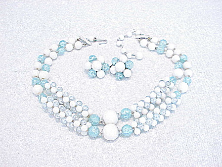 Vintage Japan Blue And White Bead Necklace And Clip Earrings Set