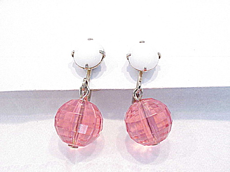 Vintage White Milk Glass And Dangling Pink Bead Screw Back Earrings