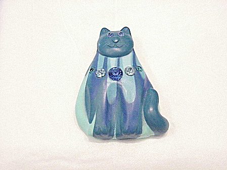 Costume Jewelry - Unique Large Blue Cat With Rhinestones Clay Brooch Or Pin
