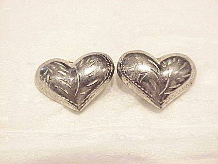 Sterling Silver Heart Shaped Pierced Earrings With Etching