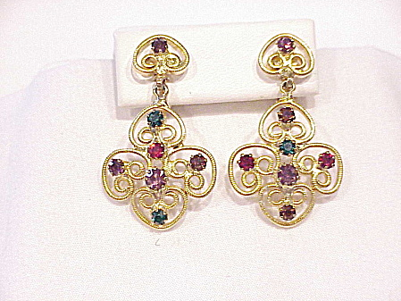 Vintage Dangling Gold Filigree And Rhinestone Clip Earrings
